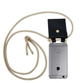 Cadorabo Handy Kette für Apple iPhone 6 PLUS / iPhone 6S PLUS in GLÄNZEND BRAUN - Silikon Necklace Umhänge Hülle mit Gold Ringen, Kordel Band Schnur und abnehmbarem Etui ? Schutzhülle