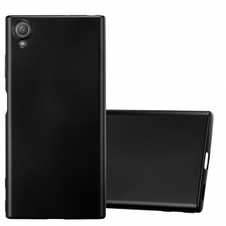 Cadorabo Hülle für Sony Xperia XA1 PLUS in METALLIC SCHWARZ - Handyhülle aus flexiblem TPU Silikon - Silikonhülle Schutzhülle Ultra Slim Soft Back Cover Case Bumper
