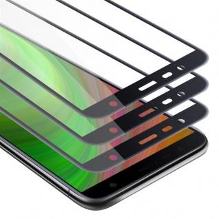 Cadorabo 3x Vollbild Panzer Folie für Samsung Galaxy J4 PLUS - Schutzfolie in TRANSPARENT mit SCHWARZ - 3er Pack Gehärtetes (Tempered) Display-Schutzglas in 9H Härte mit 3D Touch