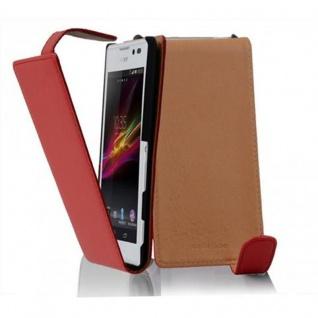 Cadorabo Hülle für Sony Xperia C in CHILI ROT - Handyhülle im Flip Design aus glattem Kunstleder - Case Cover Schutzhülle Etui Tasche Book Klapp Style