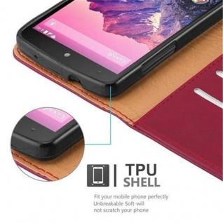 Cadorabo Hülle für LG NEXUS 5 in WEIN ROT ? Handyhülle mit Magnetverschluss, Standfunktion und Kartenfach ? Case Cover Schutzhülle Etui Tasche Book Klapp Style - Vorschau 4