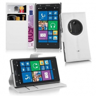 Cadorabo Hülle für Nokia Lumia 1020 in MAGNESIUM WEIß - Handyhülle aus strukturiertem Kunstleder mit Standfunktion und Kartenfach - Case Cover Schutzhülle Etui Tasche Book Klapp Style