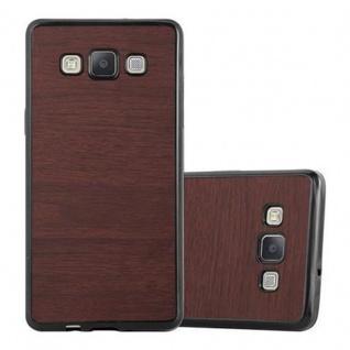 Cadorabo Hülle für Samsung Galaxy A3 2015 in WOODEN KAFFEE ? Handyhülle aus flexiblem TPU Silikon ? Silikonhülle Schutzhülle Ultra Slim Soft Back Cover Case Bumper