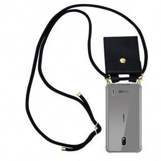 Cadorabo Handy Kette für Nokia 2.2 in SCHWARZ - Silikon Necklace Umhänge Hülle mit Gold Ringen, Kordel Band Schnur und abnehmbarem Etui ? Schutzhülle