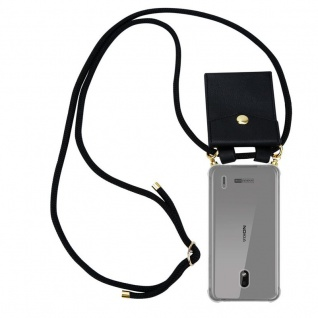 Cadorabo Handy Kette für Nokia 2.2 in SCHWARZ Silikon Necklace Umhänge Hülle mit Gold Ringen, Kordel Band Schnur und abnehmbarem Etui Schutzhülle