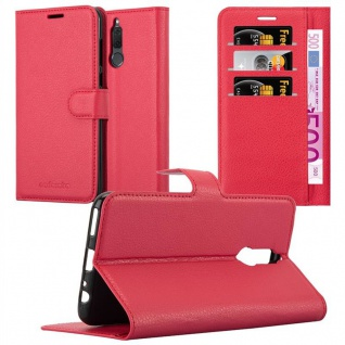 Cadorabo Hülle für Huawei MATE 10 LITE in KARMIN ROT - Handyhülle mit Magnetverschluss, Standfunktion und Kartenfach - Case Cover Schutzhülle Etui Tasche Book Klapp Style