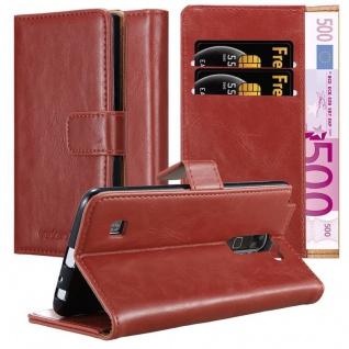 Cadorabo Hülle für LG STYLUS 2 in WEIN ROT - Handyhülle mit Magnetverschluss, Standfunktion und Kartenfach - Case Cover Schutzhülle Etui Tasche Book Klapp Style