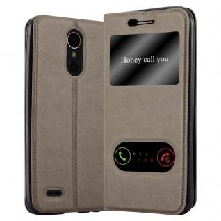 Cadorabo Hülle für LG K10 2017 in STEIN BRAUN - Handyhülle mit Magnetverschluss, Standfunktion und 2 Sichtfenstern - Case Cover Schutzhülle Etui Tasche Book Klapp Style