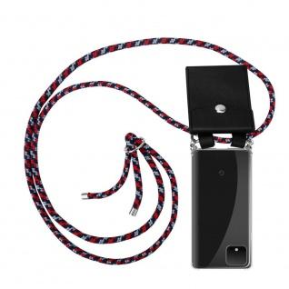 Cadorabo Handy Kette für Google Pixel 4 XL in ROT BLAU WEISS Silikon Necklace Umhänge Hülle mit Silber Ringen, Kordel Band Schnur und abnehmbarem Etui Schutzhülle