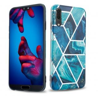 Cadorabo Hülle für Huawei P20 Hülle in Blaue Welle Marmor No.13 Handyhülle aus TPU Silikon mit Muster Mosaik Silikonhülle Schutzhülle Ultra Slim Back Cover Case Bumper