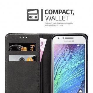Cadorabo Hülle für Samsung Galaxy J1 2015 in ROT SCHWARZ - Handyhülle mit Magnetverschluss, Standfunktion und Kartenfach - Case Cover Schutzhülle Etui Tasche Book Klapp Style - Vorschau 3