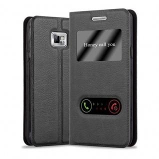 Cadorabo Hülle für Samsung Galaxy S2 / S2 PLUS in KOMETEN SCHWARZ ? Handyhülle mit Magnetverschluss, Standfunktion und 2 Sichtfenstern ? Case Cover Schutzhülle Etui Tasche Book Klapp Style