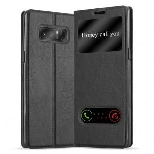 Cadorabo Hülle für Samsung Galaxy NOTE 8 in KOMETEN SCHWARZ - Handyhülle mit Magnetverschluss, Standfunktion und 2 Sichtfenstern - Case Cover Schutzhülle Etui Tasche Book Klapp Style