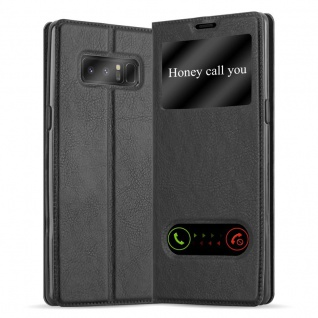Cadorabo Hülle für Samsung Galaxy NOTE 8 in KOMETEN SCHWARZ Handyhülle mit Magnetverschluss, Standfunktion und 2 Sichtfenstern Case Cover Schutzhülle Etui Tasche Book Klapp Style - Vorschau 1