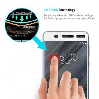 Cadorabo Vollbild Panzer Folie für Nokia 5 2017 - Schutzfolie in TRANSPARENT mit WEISS - Gehärtetes (Tempered) Display-Schutzglas in 9H Härte mit 3D Touch Kompatibilität - Vorschau 5