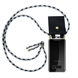 Cadorabo Handy Kette für Samsung Galaxy NOTE 8 in SCHWARZ CAMOUFLAGE Silikon Necklace Umhänge Hülle mit Gold Ringen, Kordel Band Schnur und abnehmbarem Etui Schutzhülle