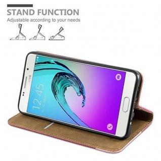 Cadorabo Hülle für Samsung Galaxy A3 2016 (6) - Hülle in PINKY ROT - Handyhülle in Bast-Optik mit Kartenfach und Standfunktion - Case Cover Schutzhülle Etui Tasche Book Klapp Style - Vorschau 4
