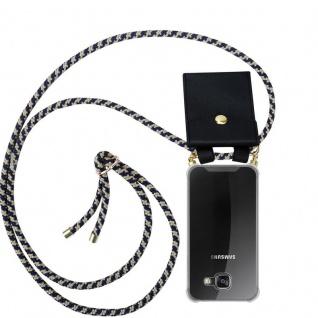 Cadorabo Handy Kette für Samsung Galaxy A3 2016 in DUNKELBLAU GELB - Silikon Necklace Umhänge Hülle mit Gold Ringen, Kordel Band Schnur und abnehmbarem Etui ? Schutzhülle