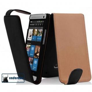 Cadorabo Hülle für HTC ONE MINI M4 in KAVIAR SCHWARZ - Handyhülle im Flip Design aus glattem Kunstleder - Case Cover Schutzhülle Etui Tasche Book Klapp Style