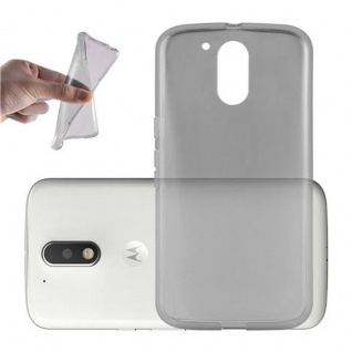 Cadorabo Hülle für Motorola MOTO G4 / G4 PLUS in TRANSPARENT SCHWARZ - Handyhülle aus flexiblem TPU Silikon - Silikonhülle Schutzhülle Ultra Slim Soft Back Cover Case Bumper