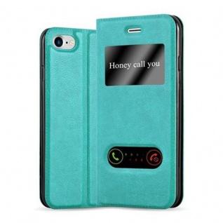 Cadorabo Hülle für Apple iPhone 7 / iPhone 7S / iPhone 8 in MINT TÜRKIS - Handyhülle mit Magnetverschluss, Standfunktion und 2 Sichtfenstern - Case Cover Schutzhülle Etui Tasche Book Klapp Style