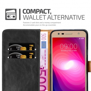 Cadorabo Hülle für LG X Power 2 in GRAPHIT SCHWARZ - Handyhülle mit Magnetverschluss, Standfunktion und Kartenfach - Case Cover Schutzhülle Etui Tasche Book Klapp Style - Vorschau 5