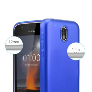 Cadorabo Hülle für Nokia 1 2017 in METALLIC BLAU - Handyhülle aus flexiblem TPU Silikon - Silikonhülle Schutzhülle Ultra Slim Soft Back Cover Case Bumper - Vorschau 5