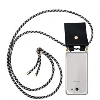 Cadorabo Handy Kette für Samsung Galaxy S3 / S3 NEO in DUNKELBLAU GELB - Silikon Necklace Umhänge Hülle mit Gold Ringen, Kordel Band Schnur und abnehmbarem Etui ? Schutzhülle