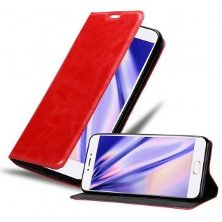 Cadorabo Hülle für MEIZU MX6 in APFEL ROT Handyhülle mit Magnetverschluss, Standfunktion und Kartenfach Case Cover Schutzhülle Etui Tasche Book Klapp Style