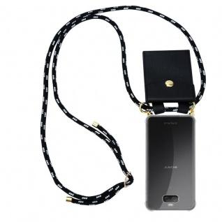 Cadorabo Handy Kette für Sony Xperia 10 in SCHWARZ SILBER - Silikon Necklace Umhänge Hülle mit Gold Ringen, Kordel Band Schnur und abnehmbarem Etui ? Schutzhülle