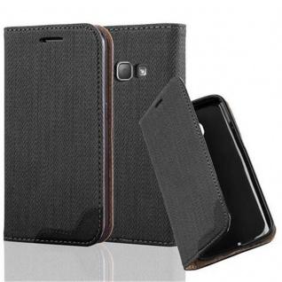 Cadorabo Hülle für Samsung Galaxy J1 2016 - Hülle in EBENHOLZ SCHWARZ ? Handyhülle in Bast-Optik mit Kartenfach und Standfunktion - Case Cover Schutzhülle Etui Tasche Book Klapp Style