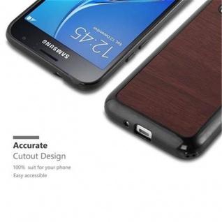 Cadorabo Hülle für Samsung Galaxy J1 2016 in WOODEN KAFFEE - Handyhülle aus flexiblem TPU Silikon - Silikonhülle Schutzhülle Ultra Slim Soft Back Cover Case Bumper - Vorschau 2