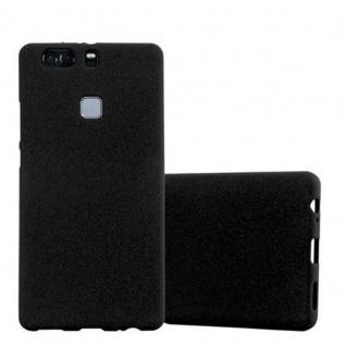 Cadorabo Hülle für Huawei P9 PLUS - Hülle in FROST SCHWARZ ? Handyhülle aus TPU Silikon im matten Frosted Design - Ultra Slim Soft Backcover Case Bumper
