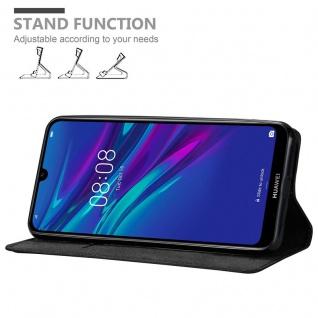 Cadorabo Hülle für Huawei Y6 2019 in NACHT SCHWARZ - Handyhülle mit Magnetverschluss, Standfunktion und Kartenfach - Case Cover Schutzhülle Etui Tasche Book Klapp Style - Vorschau 4