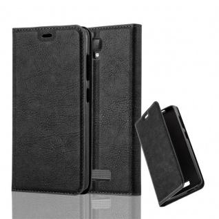 Cadorabo Hülle für ZTE BLADE L5 PLUS in NACHT SCHWARZ - Handyhülle mit Magnetverschluss, Standfunktion und Kartenfach - Case Cover Schutzhülle Etui Tasche Book Klapp Style