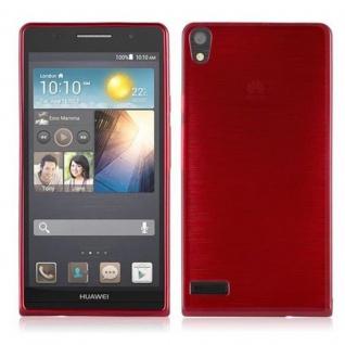 Cadorabo Hülle für Huawei P6 in ROT - Handyhülle aus flexiblem TPU Silikon - Silikonhülle Schutzhülle Ultra Slim Soft Back Cover Case Bumper