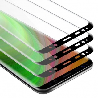 Cadorabo 3x Vollbild Panzer Folie für Samsung Galaxy S8 PLUS - Schutzfolie in TRANSPARENT mit SCHWARZ - 3er Pack Gehärtetes (Tempered) Display-Schutzglas in 9H Härte mit 3D Touch