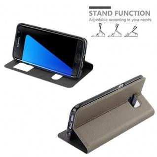 Cadorabo Hülle für Samsung Galaxy S7 EDGE in STEIN BRAUN ? Handyhülle mit Magnetverschluss, Standfunktion und 2 Sichtfenstern ? Case Cover Schutzhülle Etui Tasche Book Klapp Style - Vorschau 5