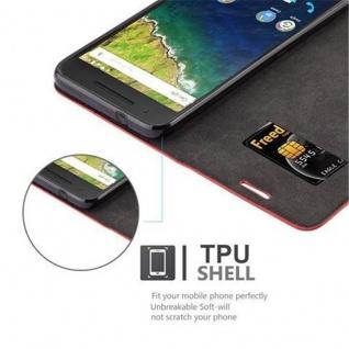 Cadorabo Hülle für Huawei NEXUS 6P in APFEL ROT Handyhülle mit Magnetverschluss, Standfunktion und Kartenfach Case Cover Schutzhülle Etui Tasche Book Klapp Style - Vorschau 2