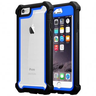 Cadorabo Hülle für Apple iPhone 6 / iPhone 6S in BLAU SCHWARZ - 2-in-1 Handyhülle mit TPU Silikon-Rand und Acryl-Glas-Rücken - Schutzhülle Hybrid Hardcase Back Case