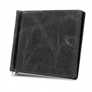 Cadorabo Leder Geldbeutel in SCHWARZ ? Ultra dünnes Portemonnaie aus Leder mit 6 Kartenfächern und Geldklammer für Scheine ? Portmonee Geldbörse Etui Brieftasche Wallet Clip