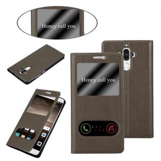 Cadorabo Hülle für Huawei MATE 9 in STEIN BRAUN ? Handyhülle mit Magnetverschluss, Standfunktion und 2 Sichtfenstern ? Case Cover Schutzhülle Etui Tasche Book Klapp Style - Vorschau 3
