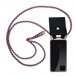 Cadorabo Handy Kette für Google Pixel 4 in ROT WEISS - Silikon Necklace Umhänge Hülle mit Gold Ringen, Kordel Band Schnur und abnehmbarem Etui ? Schutzhülle