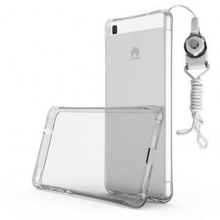 Cadorabo Hülle für Huawei P8 LITE 2015 - Hülle in KOMPLETT TRANSPARENT - Handyhülle aus TPU Silikon mit Schlaufe im Small Waist Design - Silikonhülle Schutzhülle Ultra Slim Soft Back Cover Case Bumper 1
