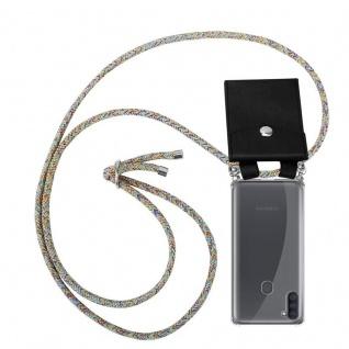 Cadorabo Handy Kette für Samsung Galaxy A11 in RAINBOW Silikon Necklace Umhänge Hülle mit Silber Ringen, Kordel Band Schnur und abnehmbarem Etui Schutzhülle