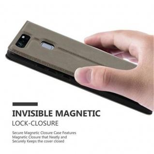 Cadorabo Hülle für Huawei P9 in STEIN BRAUN - Handyhülle mit Magnetverschluss, Standfunktion und 2 Sichtfenstern - Case Cover Schutzhülle Etui Tasche Book Klapp Style - Vorschau 5