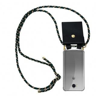 Cadorabo Handy Kette für Huawei Y6 2017 in CAMOUFLAGE - Silikon Necklace Umhänge Hülle mit Gold Ringen, Kordel Band Schnur und abnehmbarem Etui ? Schutzhülle