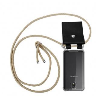 Cadorabo Handy Kette für Samsung Galaxy NOTE 3 in GLÄNZEND BRAUN - Silikon Necklace Umhänge Hülle mit Silber Ringen, Kordel Band Schnur und abnehmbarem Etui - Schutzhülle