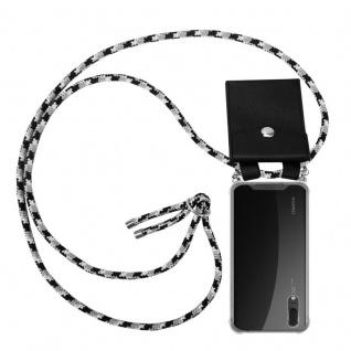 Cadorabo Handy Kette für Huawei P20 in SCHWARZ CAMOUFLAGE - Silikon Necklace Umhänge Hülle mit Silber Ringen, Kordel Band Schnur und abnehmbarem Etui - Schutzhülle