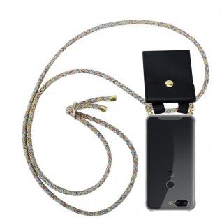 Cadorabo Handy Kette für OnePlus 5T in RAINBOW - Silikon Necklace Umhänge Hülle mit Gold Ringen, Kordel Band Schnur und abnehmbarem Etui ? Schutzhülle